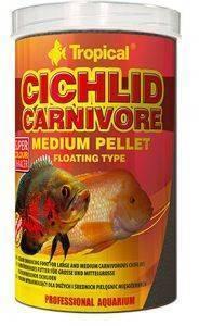 ΤΡΟΦΗ ΨΑΡΙΩΝ TROPICAL CICHLID CARNIVORE MEDIUM PELLET 1000ML pet shop ψαρι τροφεσ τροφη ψαριου