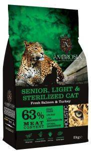 ΤΡΟΦΗ ΓΑΤΑΣ AMBROSIA GRAIN FREE CAT LIGHT SENIOR - STERILISED ΣΟΛΟΜΟΣ - ΓΑΛΟΠΟΥΛ pet shop γατα ξηρη τροφη senior ανω των 7 ετων
