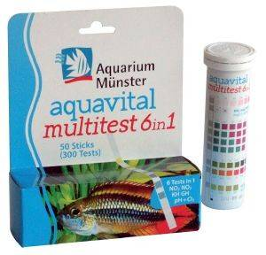 TΕΣΤ ΝΕΡΟY AQUARIUM MUNSTER AQUAVITAL MULTITEST 6 IN 1, 50 STRIPS pet shop ψαρι βελτιωτικα νερου test