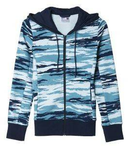 ΖΑΚΕΤΑ ADIDAS PERFORMANCE ESSENTIALS ALL OVER PRINT HOODIE ΘΑΛΑΣΣΙ/ΜΠΛΕ