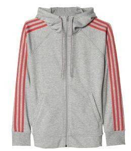 ΖΑΚΕΤΑ ADIDAS PERFORMANCE ESSENTIALS 3-STRIPES HOODIE ΓΚΡΙ/ΚΟΡΑΛΙ (S)