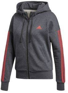 ΖΑΚΕΤΑ ADIDAS PERFORMANCE ESSENTIALS 3-STRIPES HOODIE ΓΚΡΙ ΣΚΟΥΡΟ
