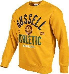 ΜΠΛΟΥΖΑ RUSSELL ATHLETIC BADGED CREWNECK SWEATSHIRT ΜΟΥΣΤΑΡΔΙ (L)
