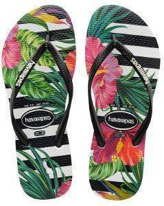 ΣΑΓΙΟΝΑΡΑ HAVAIANAS SLIM TROPICAL FLORAL IMPERIAL PALACE ΜΑΥΡΗ