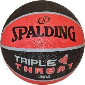 ΜΠΑΛΑ SPALDING NBA TRIPLE THREAT COLOUR RUBBER ΚΟΚΚΙΝΗ/ΜΑΥΡΗ (5)