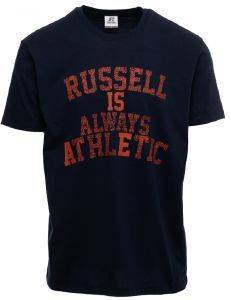 ΜΠΛΟΥΖΑ RUSSELL ATHLETIC RA MOTTO S/S CREWNECK TEE ΜΠΛΕ ΣΚΟΥΡΟ