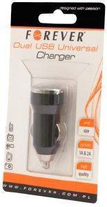 FOREVER UNIVERSAL CAR CHARGER USB 2IN1 1A/2A