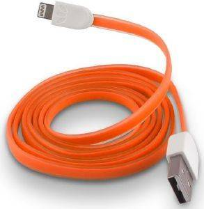 FOREVER USB CABLE FOR APPLE IPHONE 5 / 6 / 7 ORANGE SILICONE FLAT BOX