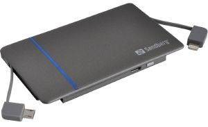 SANDBERG 480-06 EXCELLENCE POWERBANK 3000MAH GREY LIGHTNING AND MICRO USB