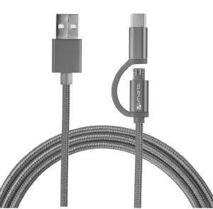 4SMARTS MICRO-USB & USB TYPE-C CABLE COMBO CORD 2M FABRIC GREY