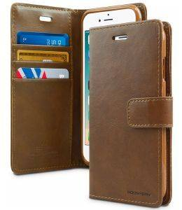 MERCURY GOOSPERY MANSOOR LEATHER DIARY FLIP CASE APPLE IPHONE 7 BROWN