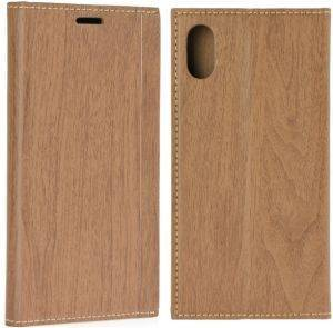 FORCELL LEATHER WOOD BOOK FLIP CASE FOR APPLE IPHONE X BROWN