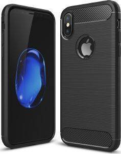 FORCELL TPU CARBON BACK COVER CASE FOR APPLE IPHONE XS (5,8) BLACK
