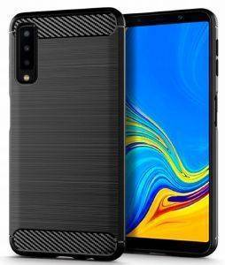 FORCELL SILICONE CARBON BACK COVER CASE FOR SAMSUNG GALAXY A7 2018 (A750) BLACK