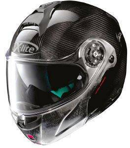 ΚΡΑΝΟΣ X-LITE X-1004 ULTRA CARBON DYAD N-COM 3 SCRATCHED CHROME CHIN GUARD-M