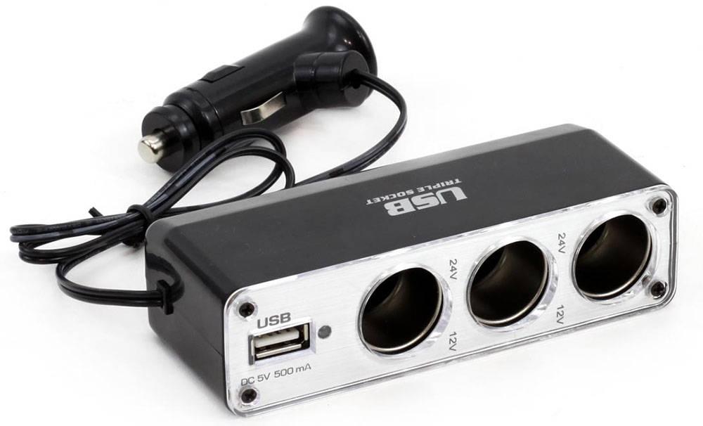 ΑΝΤΑΠΤΟΡΑΣ ΑΝΑΠΤΗΡΑ AMIO ΤΡΙΠΛΟΣ+ 1 USB 500MA ΜΕ ΚΑΛΩΔΙΟ 30CM 12/24V 2A MAX (01706)