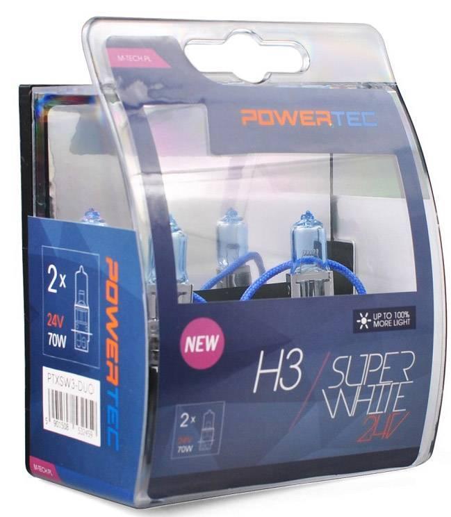 H3 24V 70W 3.450K PK22S POWERTECK SUPERWHITE BLISTER 2ΤΕΜ. M-TECH