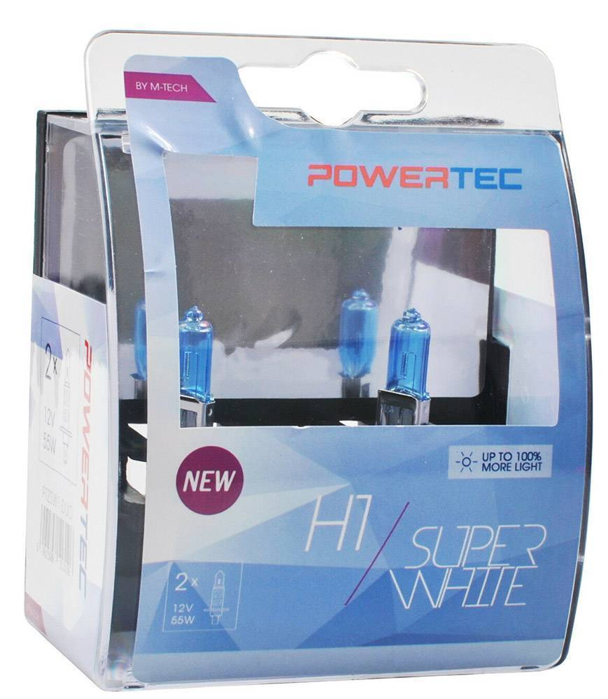 H1 12V 55W 3.450K P14.5 POWERTECK SUPERWHITE 2ΤΕΜ.