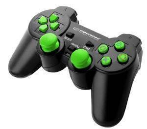 ESPERANZA EGG106G CORSAIR VIBRATION GAMEPAD FOR PC / PS2 / PS3 BLACK/GREEN Ενσύρματο gamepad με δόνηση για PS2, PS3 & PC. Εξαιρετική συνεργασία με τα προηγμένα παιχνίδια. Ο εργονομικός σχεδιασμός διευκολύνει τη λαβή και δεν προκαλεί κόπωση κατά τη διάρκεια του παιχνιδιού. 2