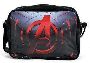 AVENGERS - RED LOGO BLACK MESSENGER BAG