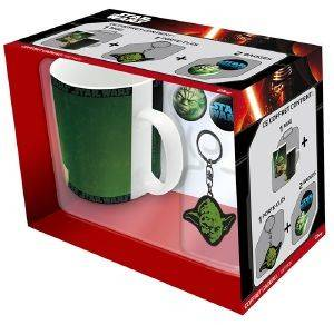 STAR WARS - YODA 460ML MUG + YODA KEYCHAIN + 2 BADGES GIFT BOX (ABYPCK064)