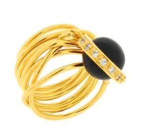 ΔΑΧΤΥΛΙΔΙ CHEVALIER ΜΕ CHARM MAΥΡΟ ΟΝΥΧΑ (NO 54) κοσμήματα δαχτυλιδια χρυσα chevalier