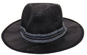 ΜΑΥΡΟ ΨΑΘΙΝΟ ΚΑΠΕΛΟ ΤΥΠΟΥ PANAMA ONE SIZE accessories ανδρασ καπελα σκουφοι καπελα