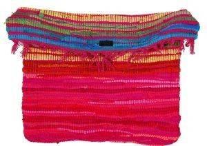 ΧΕΙΡΟΠΟΙΗΤΗ ΤΣΑΝΤΑ ΠΛΑΤΗΣ PENNY CHRISTIDI ΒΑΜΒΑΚΕΡΗ ΦΟΥΞΙΑ accessories γυναικα τσαντεσ πλατησ