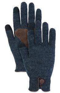 ΓΑΝΤΙΑ TIMBERLAND GI360097 WOOL/LEATHER CA1GEF433 ΣΚΟΥΡΟ ΜΠΛΕ (S/M) accessories ανδρασ κασκολ γαντια γαντια