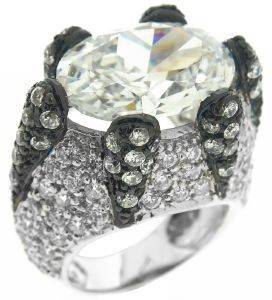 ΔΑΧΤΥΛΙΔΙ BEVERLY ΑΣΗΜΕΝΙΟ ΜΕ ΖΙΡΓΚΟΝ ΛΕΥΚΟ/ΜΑΥΡΟ (ΝΟ 54) accessories κοσμηματα δαχτυλιδια επιπλατινωμενα