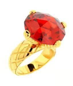 ΔΑΧΤΥΛΙΔΙ JUST CAVALLI ΒΟULE ΑΤΣΑΛΙΝΟ ΚΟΚΚΙΝΟ (ΝΟ 56) accessories κοσμηματα δαχτυλιδια επιχρυσωμενα