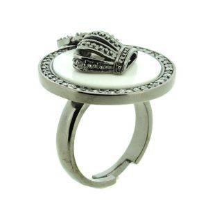 ΔΑΧΤΥΛΙΔΙ BEVERLY ΜΕ ΚΟΡΩΝΑ ΛΕΥΚΟ (ONE SIZE) accessories κοσμηματα δαχτυλιδια ασημι 925