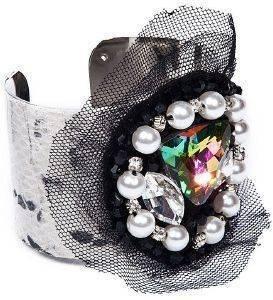 ΒΡΑΧΙΟΛΙ ACHILLEAS ACCESSORIES SNAKE SKIN ΜΕ ΠΕΡΛΕΣ accessories κοσμηματα βραχιολια fashion