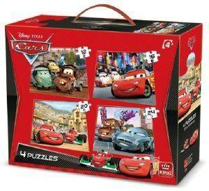 PUZZLE KING 4 ΣΕ 1 DISNEY CARS 12-16-20-24 ΚΟΜΜΑΤΙΑ βρεφικά   παιδικά παιχνιδια 36 μηνων και ανω puzzles