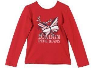 ΜΠΛΟΥΖΑ PEPE JEANS KATNIS ΚΟΚΚΙΝΟ (92ΕΚ.)-(1-2ΕΤΩΝ) βρεφικά   παιδικά κοριτσι μπλουζεσ μακρυμανικεσ