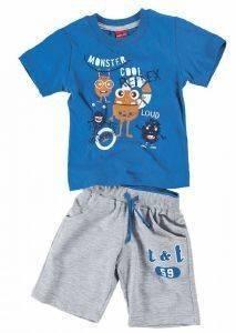 ΣΕΤ ΦΟΡΜΑΣ ΜΠΕΜΠΕ REFLEX MONSTER COOL 73568 ΜΠΛΕ/ΓΚΡΙ (86ΕΚ.)-(12-18 ΜΗΝΩΝ) βρεφικά   παιδικά αγορι φορμεσ κοντο μανικι