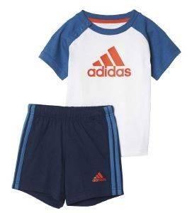 ΣΕΤ ΜΠΛΟΥΖΑ/ΣΟΡΤΣ ADIDAS PERFORMANCE SUMMER MINI SET ΛΕΥΚΟ/ΜΠΛΕ (98 CM) βρεφικά   παιδικά αγορι φορμεσ κοντο μανικι