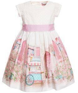 ΦΟΡΕΜΑ MONNALISA ABITO BALCONCINI 319922-9672 ΚΡΕΜ/ΡΟΖ (89ΕΚ.)-(18 ΜΗΝΩΝ) βρεφικά   παιδικά κοριτσι φουστεσ φορεματακια φορεματακια