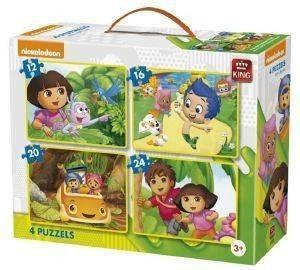 PUZZLE KING 4 ΣΕ 1 DISNEY DORA 12-16-20-24 ΚΟΜΜΑΤΙΑ βρεφικά   παιδικά παιχνιδια 36 μηνων και ανω puzzles