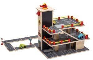 ΞΥΛΙΝΟ ΓΚΑΡΑΖ JOUECO ΜΕ 20 ΑΞΕΣΟΥΑΡ [80041] βρεφικά   παιδικά παιχνιδια 36 μηνων και ανω ξυλινα οικολογικα παιχνιδια