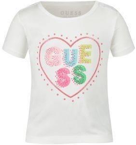T-SHIRT GUESS KIDS A82I01 J1300 BRAND LOGO ΛΕΥΚΟ (96ΕΚ.)-(18-24ΜΗΝΩΝ) βρεφικά   παιδικά κοριτσι μπλουζεσ t shirts