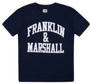 T-SHIRT FRANKLIN - MARSHALL FMS0097 ΣΚΟΥΡΟ ΜΠΛΕ (128ΕΚ.)-(7-8 ΕΤΩΝ) βρεφικά   παιδικά αγορι μπλουζεσ t shirts