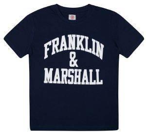T-SHIRT FRANKLIN - MARSHALL FMS0097 ΣΚΟΥΡΟ ΜΠΛΕ (116ΕΚ.)-(5-6ΕΤΩΝ) βρεφικά   παιδικά αγορι μπλουζεσ t shirts