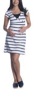 ΦΟΡΕΜΑ ΘΗΛΑΣΜΟΥ OMOR MIDI ΡΙΓΕ ΛΕΥΚΟ/ΣΚΟΥΡΟ ΜΠΛΕ (M) βρεφικά   παιδικά εγκυμοσυνη φορεματα φουστεσ εγκυμοσυνησ