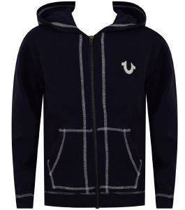 ΖΑΚΕΤΑ HOODY TRUE RELIGION FRENCH TERRY TR146HD32 ΣΚΟΥΡΟ ΜΠΛΕ