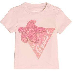 T-SHIRT GUESS KIDS BRAND LOGO A82I02 J1300 ΡΟΖ (96ΕΚ.)-(18-24ΜΗΝΩΝ) βρεφικά   παιδικά κοριτσι μπλουζεσ t shirts