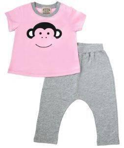 ΣΕΤ KEEN ORGANIC WWF BABY SET MONKEY ΡΟΖ/ΓΚΡΙ (18-24 ΜΗΝΩΝ) βρεφικά   παιδικά κοριτσι σετ ρουχων κοντο μανικι