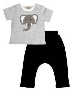 ΣΕΤ KEEN ORGANIC WWF BABY SET ELEPHANT ΓΚΡΙ/ΜΑΥΡΟ (12-18 ΜΗΝΩΝ) βρεφικά   παιδικά αγορι φορμεσ κοντο μανικι