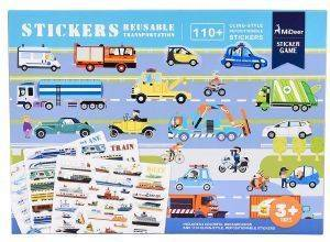 ΑΥΤΟΚΟΛΛΗΤΑ MIDEER REUSABLE STICKERS-TRANSPORTATION 110ΤΜΧ [MD1016]