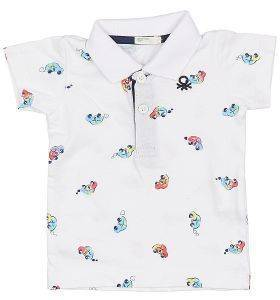POLO T-SHIRT BENETTON BASIC BABY ΛΕΥΚΟ